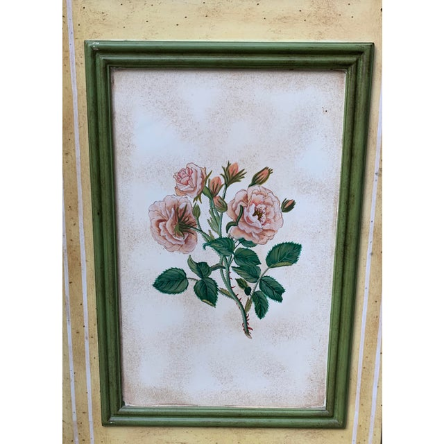 Vintage Early 20th Century French Hand-Painted Floral Botanical Wood Screen For Sale - Image 10 of 12