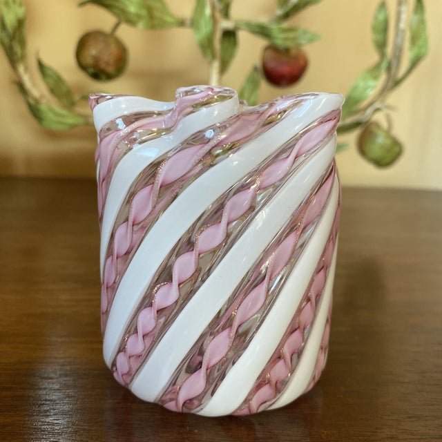 Fratelli Toso Fratelli Toso Murano Glass Zanfirico Pink Ribbon Handkerchief Vase For Sale - Image 4 of 12