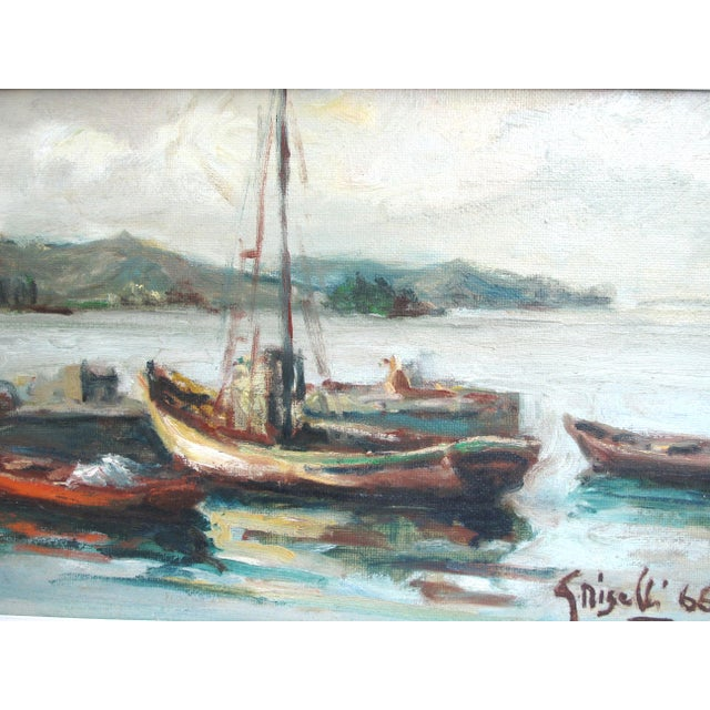 Italian maritime scene signed Griselli lower right and dated 66. Titled upon the reverse 'Barche a Ormeggio' (Boats at...