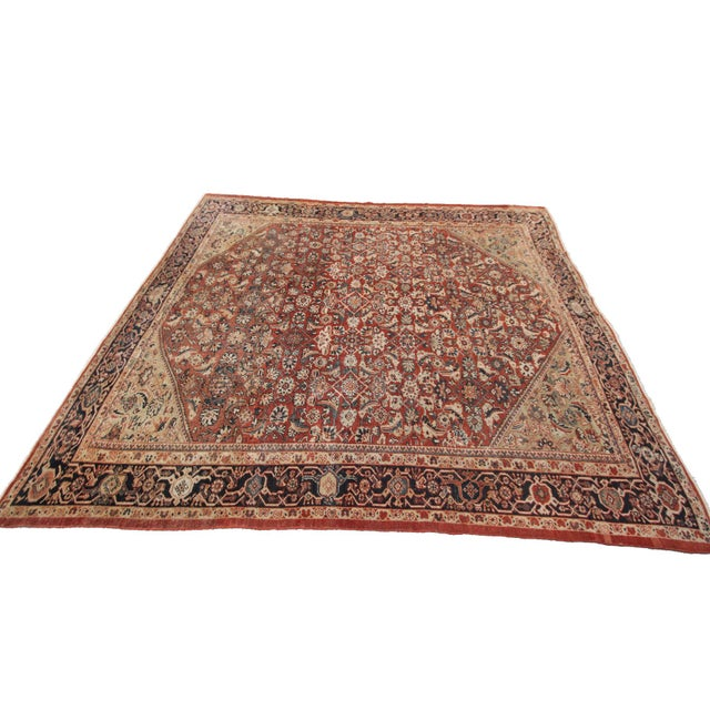 Early 20th Century Antique Persian Mahal Rug-8′9″ × 10′5″ For Sale In New York - Image 6 of 11