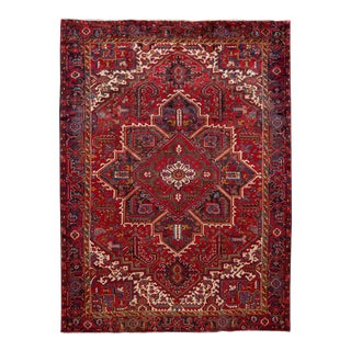 "Mid-20th Century Heriz Wool Rug, 8'5"" X 11'5"" For Sale"