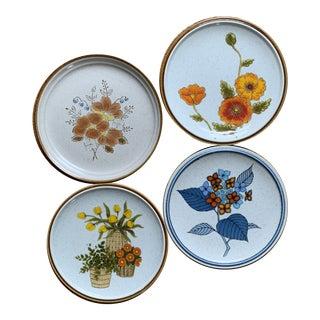 Vintage Mismatched Floral Stoneware Salad Plates - Set of 4 For Sale