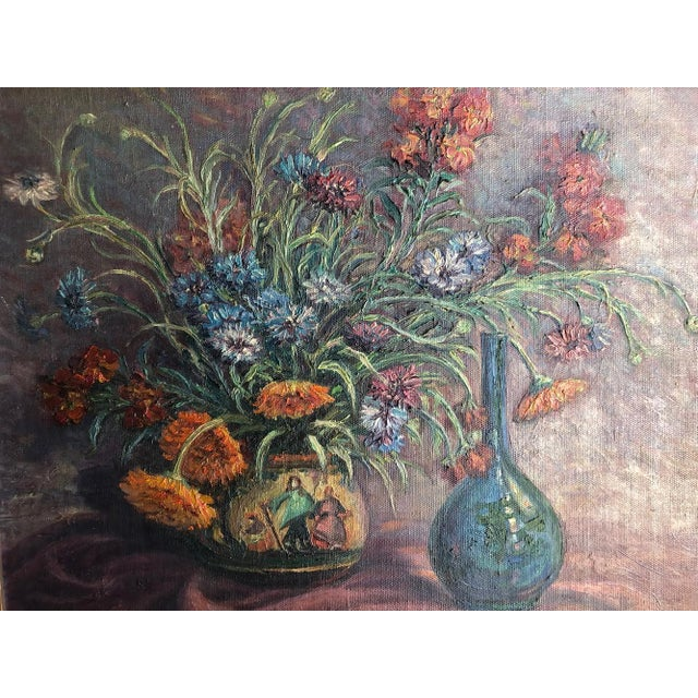 1920s Vintage Edyth Glover Ellsworth Still Life With Flowers and Blue Vase Painting For Sale - Image 4 of 11