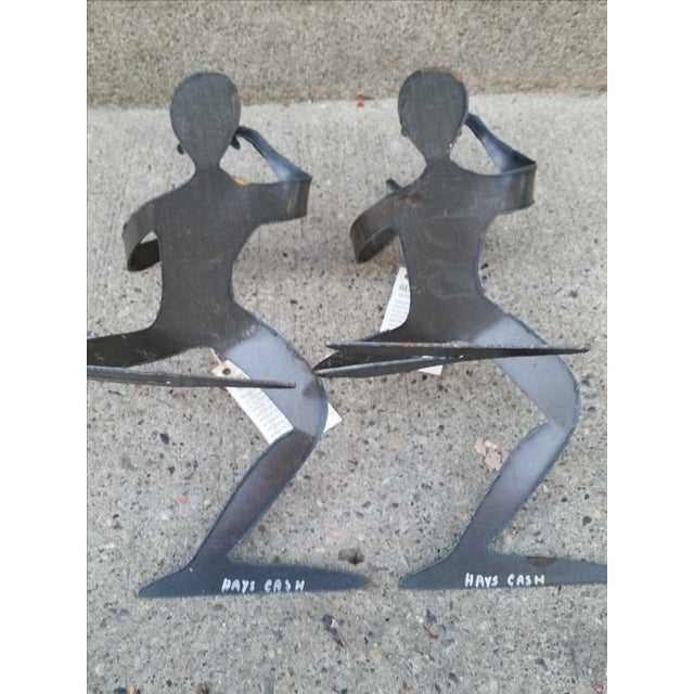 Brutalist Forged Metal Bottle Holders - A Pair - Image 8 of 8