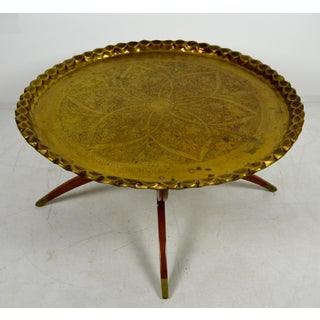 1960s Anglo-Indian Round Brass Tray Top Spider Leg Base Coffee Table Preview