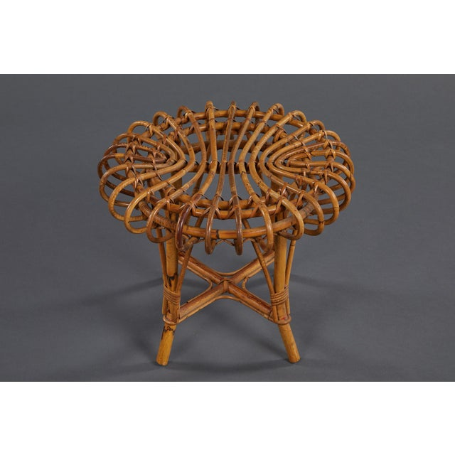 Mid 20th Century A Petite Pair of Sculptural Rattan Stools For Sale - Image 5 of 10