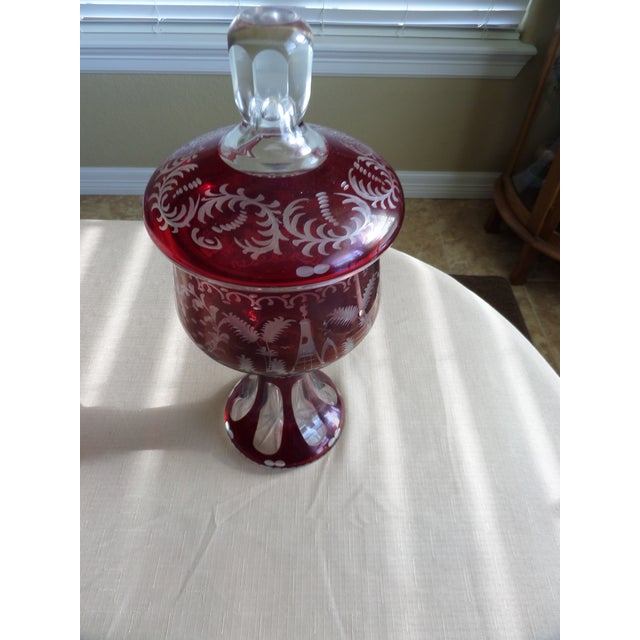 Bohemian Ruby Cut to Clear Covered Compote For Sale In Dallas - Image 6 of 11