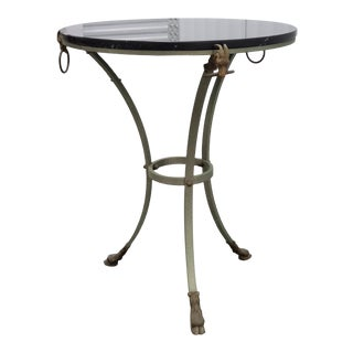 Marble Top Brass & Steel Gueridon Table W Rams Heads & Hairy Paw Feet For Sale