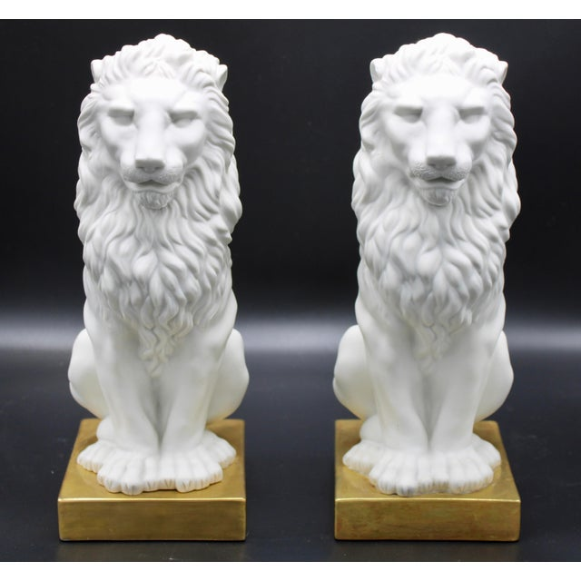 Italian Mottahedeh Ceramic Mantle Lions - a Pair For Sale - Image 9 of 13