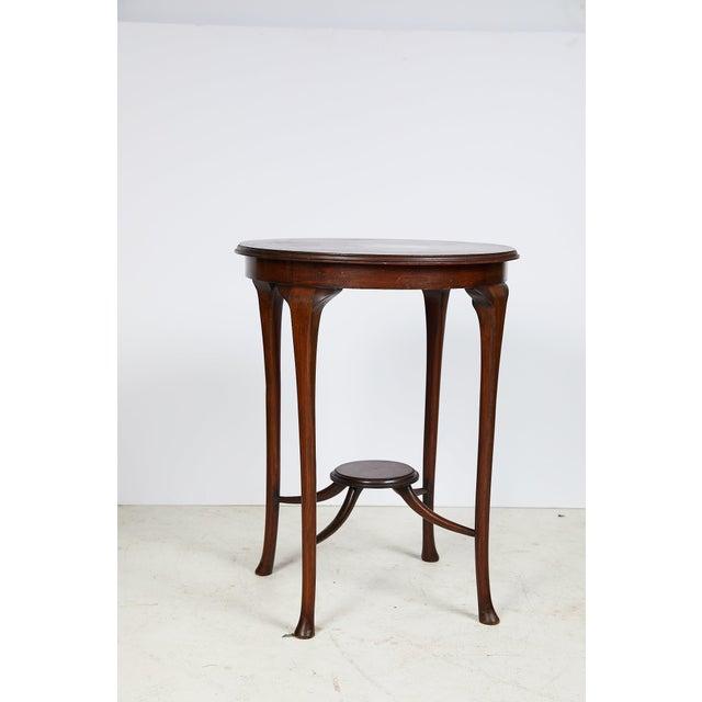 Art Deco English Art Nouveau Round Tea Table of Mahogany For Sale - Image 3 of 13