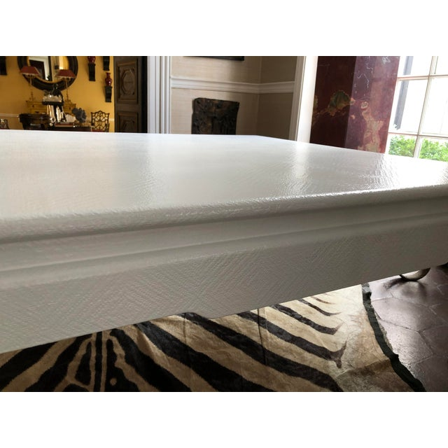 Linen Large Square Asian Modern Linen Wrapped Coffee Table in the Style of Karl Springer For Sale - Image 8 of 12