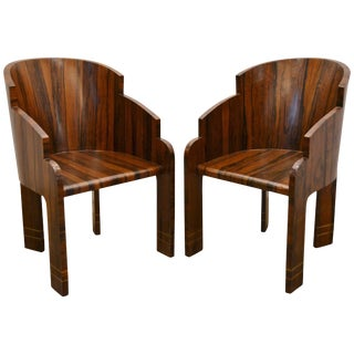 Pair of Art Deco Rosewood Barrel Back Tub Chairs, Circa 1940 For Sale