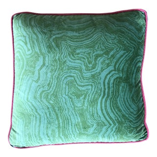 Cowtan & Tout Emerald Malachite Velvet Pillow