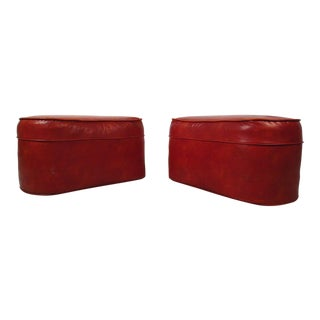 Mid-century Modern Red Vinyl Ottomans - a Pair For Sale