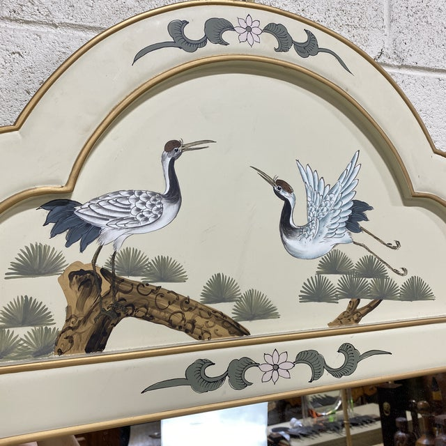 Hand Painted Asian Style Chest With Matching Mirror For Sale - Image 9 of 12