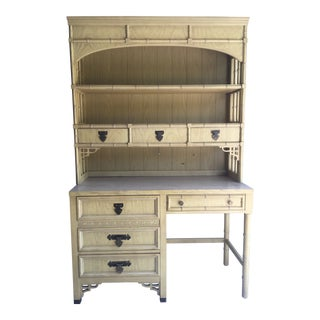 1970s Dixie Shangri La Vintage Desk and Hutch For Sale