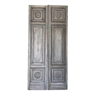 French Country Gray Painted Tall Antique Mahogany Doors - a Pair