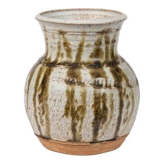 Studio Ceramic Stoneware Vase/Vessel With Vertical Striation For Sale