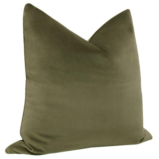 "Contemporary 22"" Bayleaf Velvet Pillows - a Pair For Sale - Image 3 of 5"