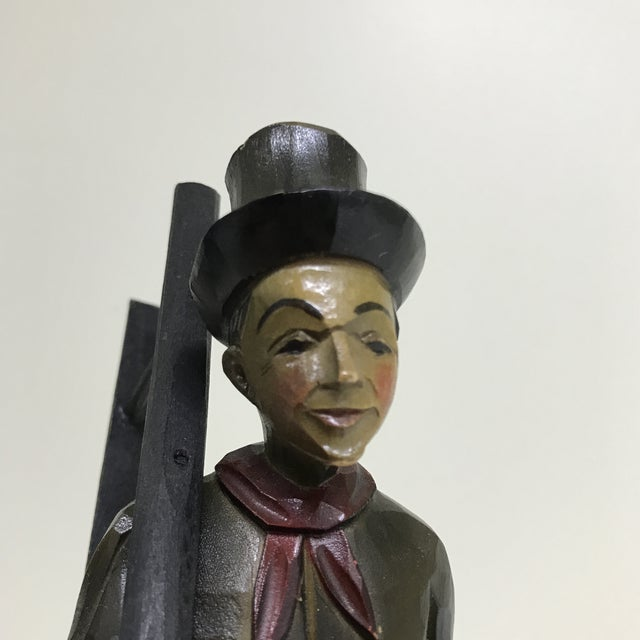 Vintage Anri Hand Carved German Chimney Sweep Wood Figurine For Sale - Image 9 of 12