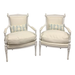 White Painted Gustavian Swedish Armchairs- a Pair For Sale