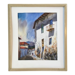 1960s Italian Village Scene Watercolor Painting, Framed For Sale