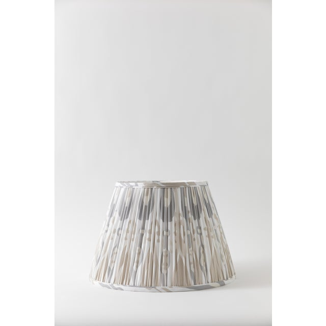 "Metal Petal Ikat in Linen 10"" Lamp Shade, Sand For Sale - Image 7 of 7"