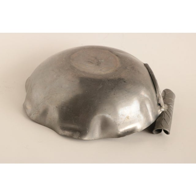 Metal Chinese Gemmed Pewter Lotus Bowl For Sale - Image 7 of 9
