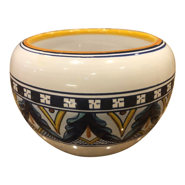 Vintage 1970s Amano Franco Mari Deruta Italian Signed Hand Painted Dip Pottery Planter For Sale