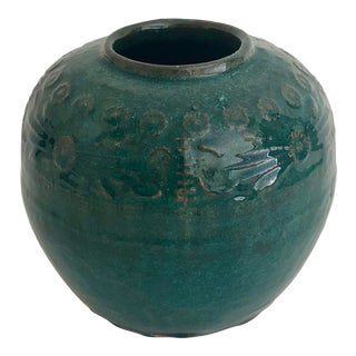 Antique Chinese Teal Glazed Pot For Sale