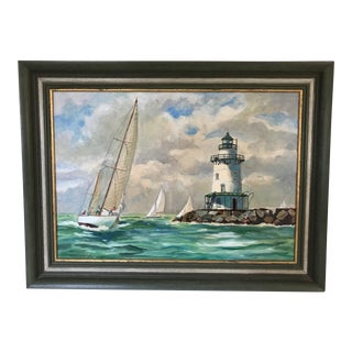M Lindemuth Vintage Oil Painting 'Yachting by the Essex Lighthouse', Massachusetts For Sale