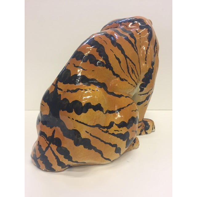 Italian Terracotta Seated Tiger Sculpture For Sale - Image 9 of 11