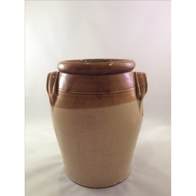 1890's Rustic English Stoneware Crock For Sale - Image 4 of 5