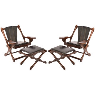 """Don Shoemaker Sling """"Swinger"""" Chairs & Ottomans for Señal, s.a, 1960 - a Pair For Sale"""