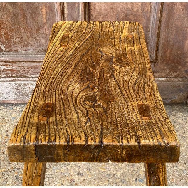 Wood English Saddle Seat or Farm Stool of Elm For Sale - Image 7 of 13