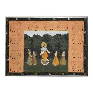 Pichhavai Hindu Painting of Krishna on Silk with Sacred Cows For Sale