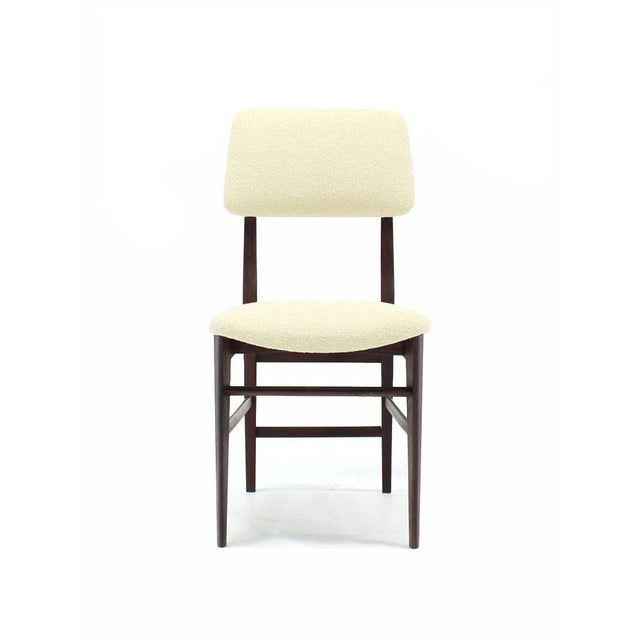 Early 20th Century Set of Four Italian Modern Walnut Dining Chairs New Upholstery For Sale - Image 5 of 7
