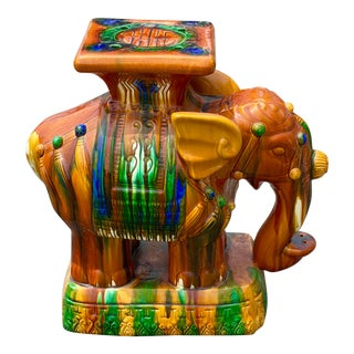 Hollywood Regency Glazed Ceramic Elephant Garden Seat For Sale