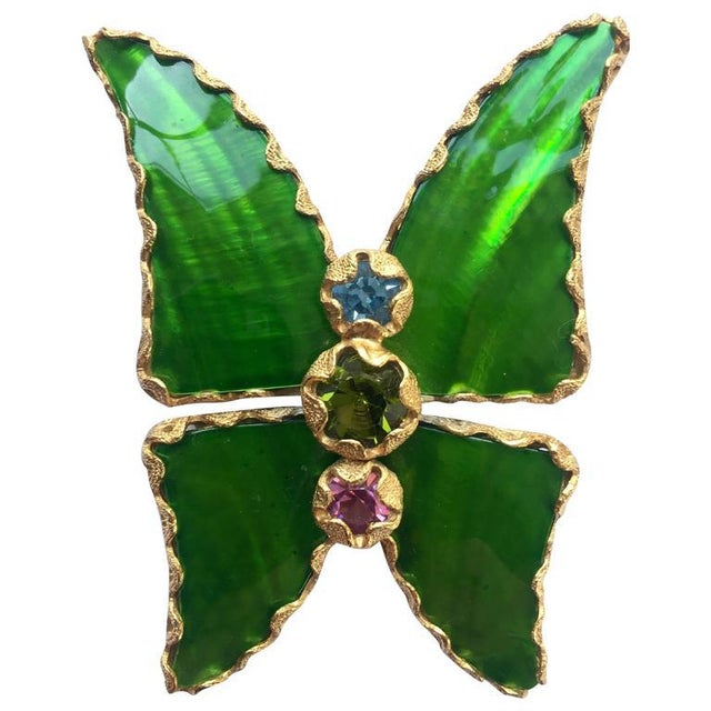 c5e8c4b6ddd Enamel Vintage Yves Saint Laurent Green Enamel and Gold Butterfly Pin Ysl  For Sale - Image