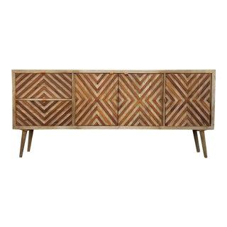 Modern Patterned Wood Credenza
