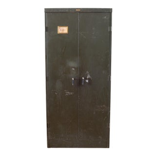 Large Industrial Army Green Metal Cabinet C.1930 For Sale