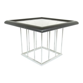 1970s Vintage Chrome, Wood and Glass Square Side / Coffee Table For Sale