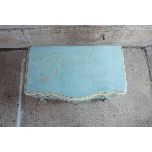 1960s John Widdicomb Wm Burkey Distressed Teal Commode For Sale - Image 4 of 13