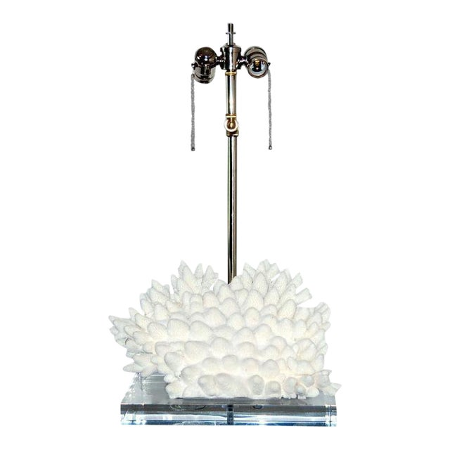 Coral Finger Table Lamp White For Sale