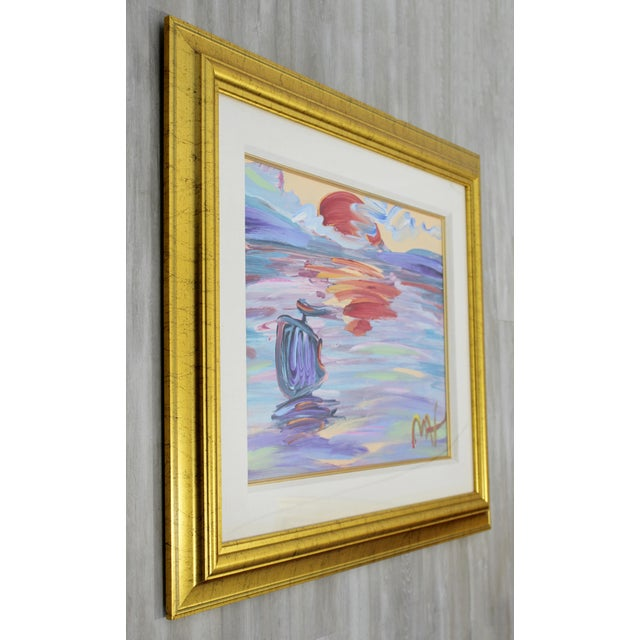 Contemporary Contemporary Modern Framed Peter Max American Sunset Signed Acrylic Painting For Sale - Image 3 of 7