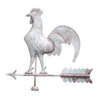 19th Century French Patinated Tole Rooster Weathervane