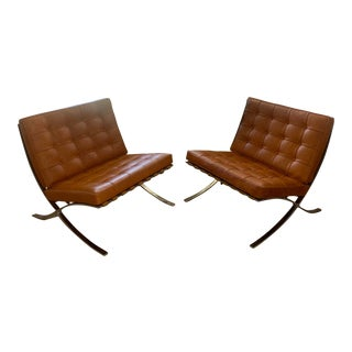 Barcelona Caramel Leather Chairs-a Pair For Sale