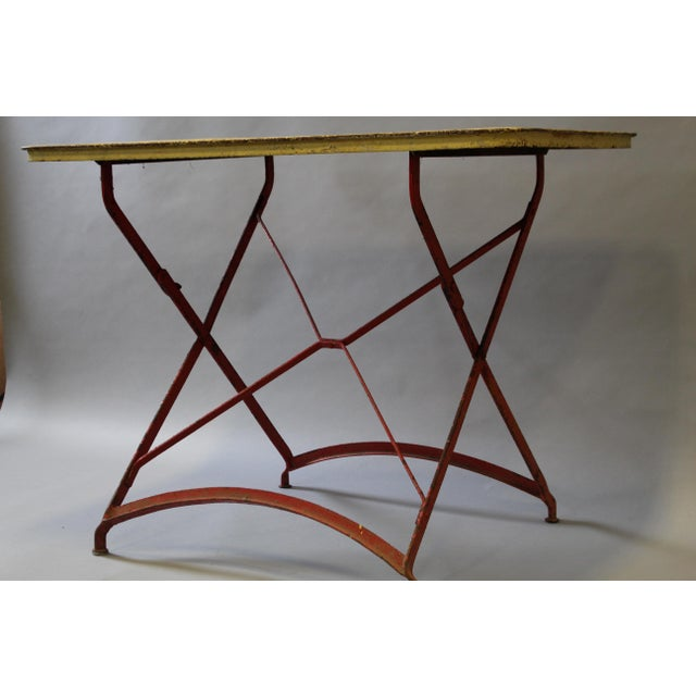 Industrial Folding Painted Metal Bistro Table With Red Legs For Sale - Image 3 of 7