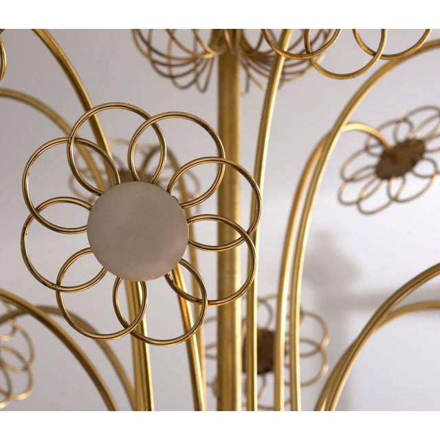 Brass Elegant Floral Chandelier by Paavo Tynell, 1950s For Sale - Image 7 of 9