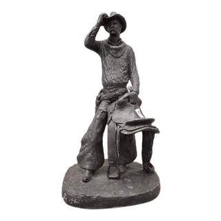 """Michael Garman Spelter Statue """"The Saddle Tramp"""" Late 1960s Cowboy Sculpture For Sale"""